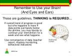 remember to use your brain and eyes and ears