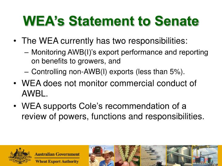 Wea s statement to senate