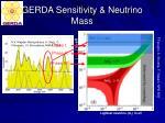 gerda sensitivity neutrino mass