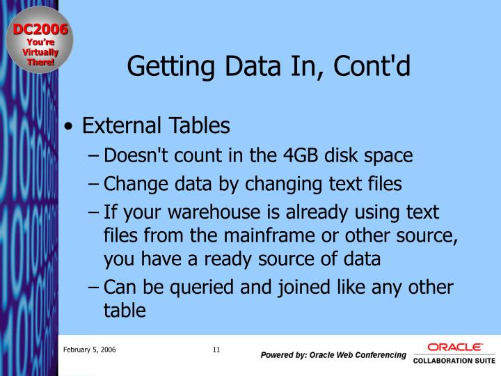 Getting Data In, Cont'd