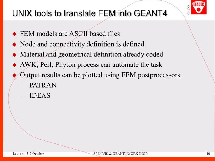 UNIX tools to translate FEM into GEANT4