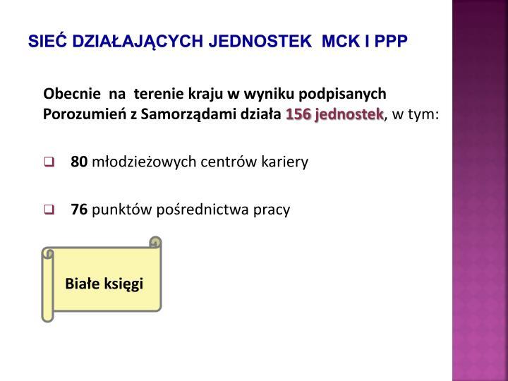 Sieć działających jednostek  MCK i PPP