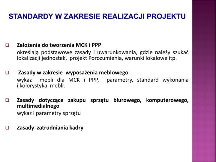 Standardy w zakresie realizacji projektu
