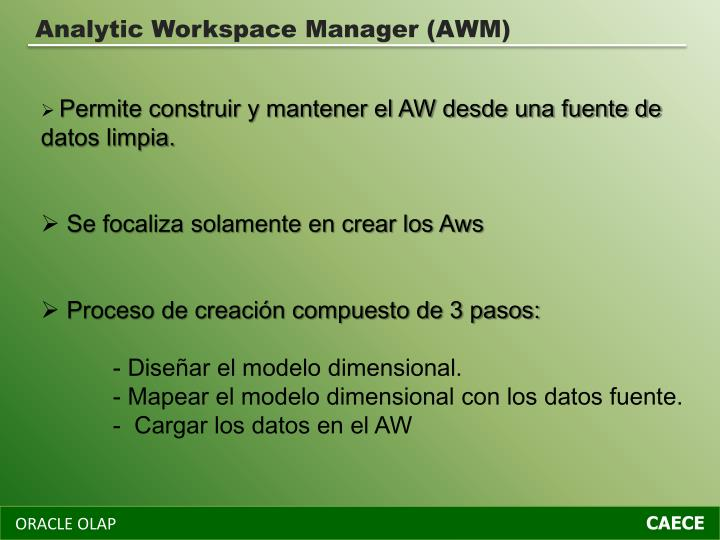 Analytic Workspace Manager (AWM)