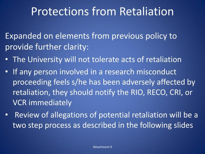 Protections from Retaliation