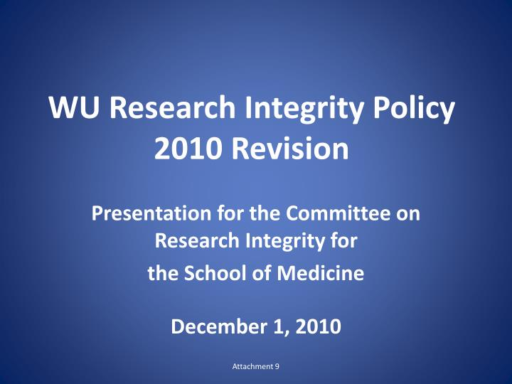 Wu research integrity policy 2010 revision