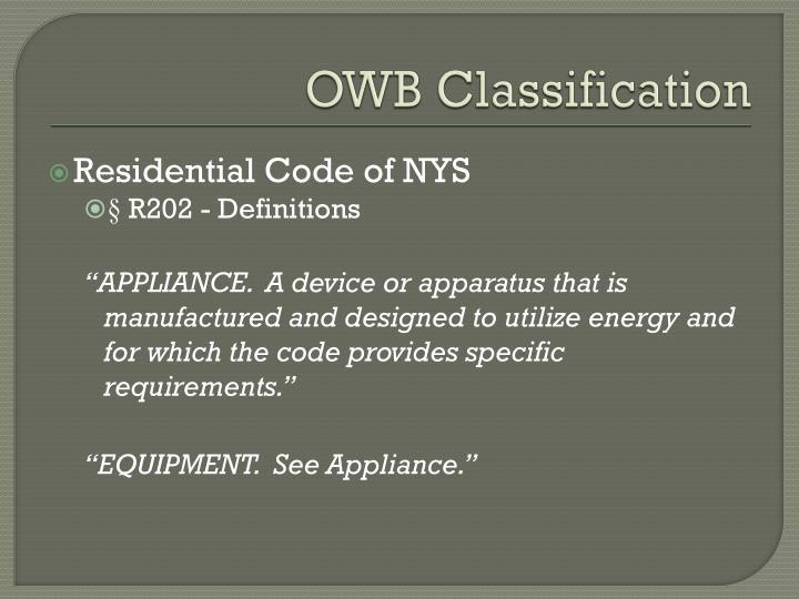 OWB Classification