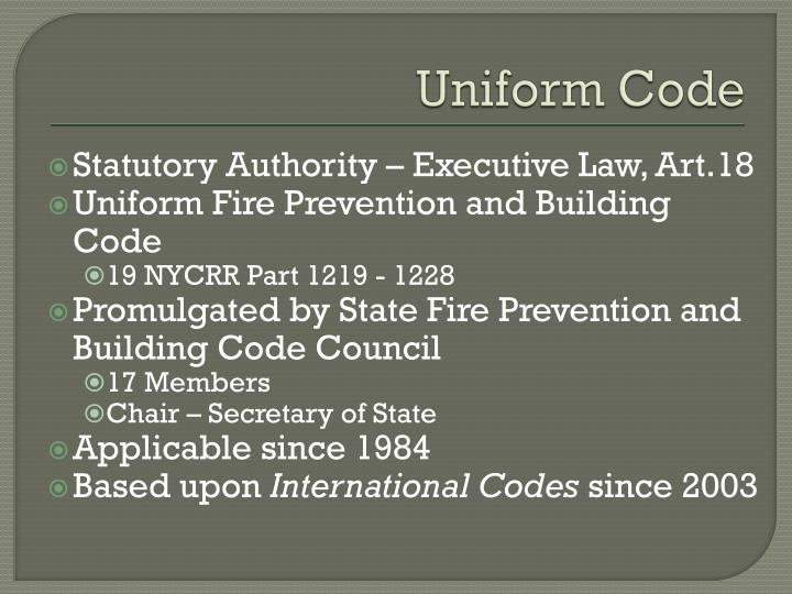 Uniform code