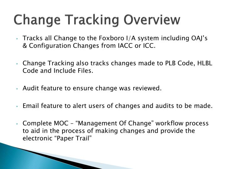 Change tracking overview