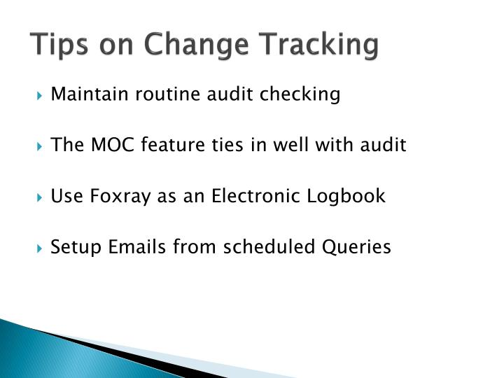 Tips on Change Tracking