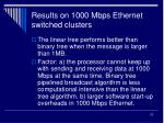 results on 1000 mbps ethernet switched clusters