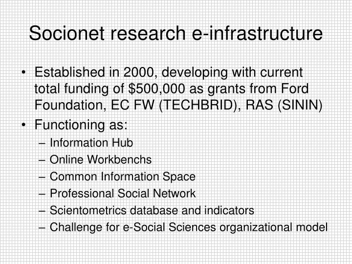 Socionet research e infrastructure