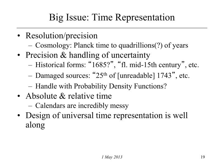 Big Issue: Time Representation