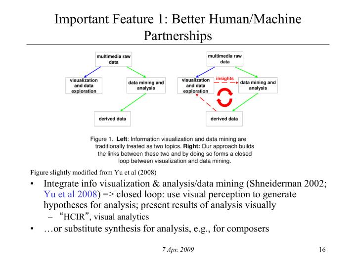 Important Feature 1: Better Human/Machine Partnerships
