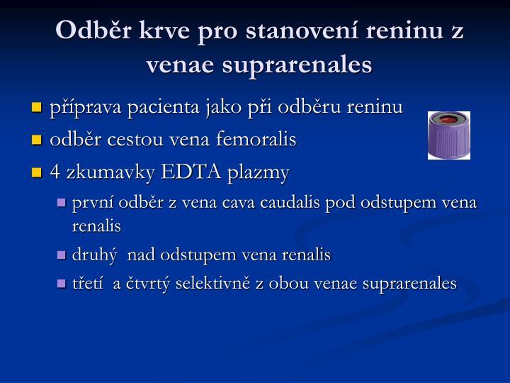 Odběr krve pro stanovení reninu z venae suprarenales