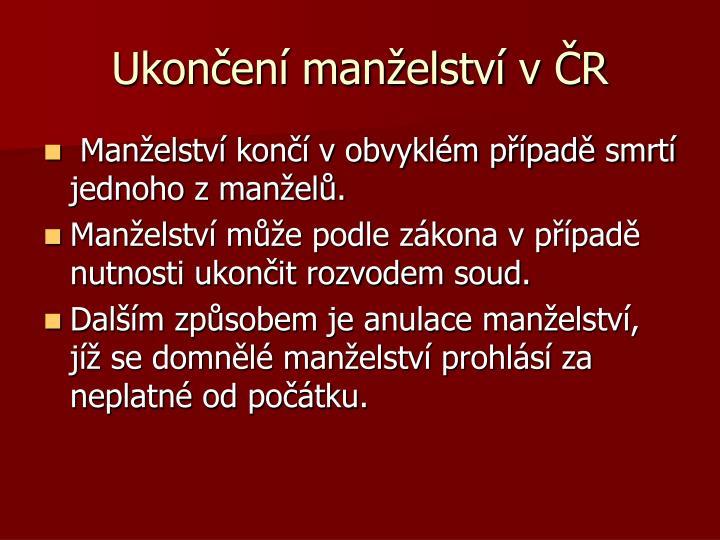 Ukončení manželství v ČR