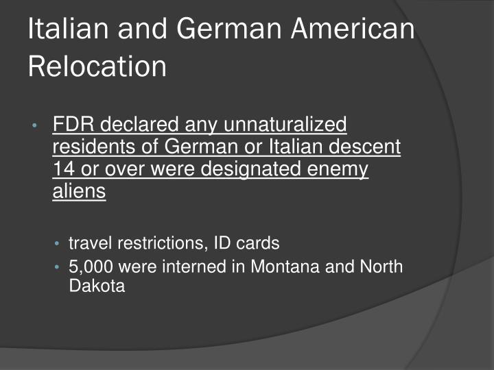 Italian and German American Relocation