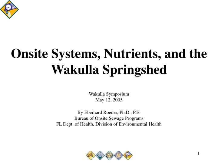 Onsite systems nutrients and the wakulla springshed
