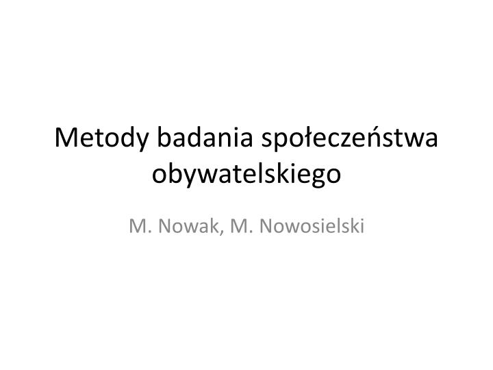 metody badania spo ecze stwa obywatelskiego n.