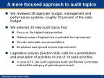 a more focused approach to audit topics