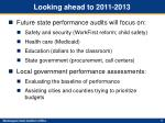 looking ahead to 2011 2013