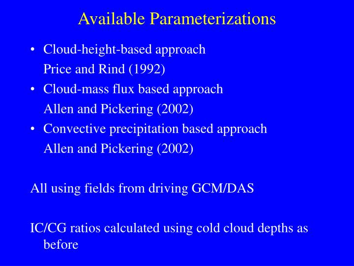 Available Parameterizations