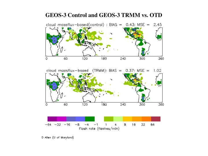 GEOS-3 Control and GEOS-3 TRMM vs. OTD