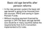basic old age benefits after pension reforms