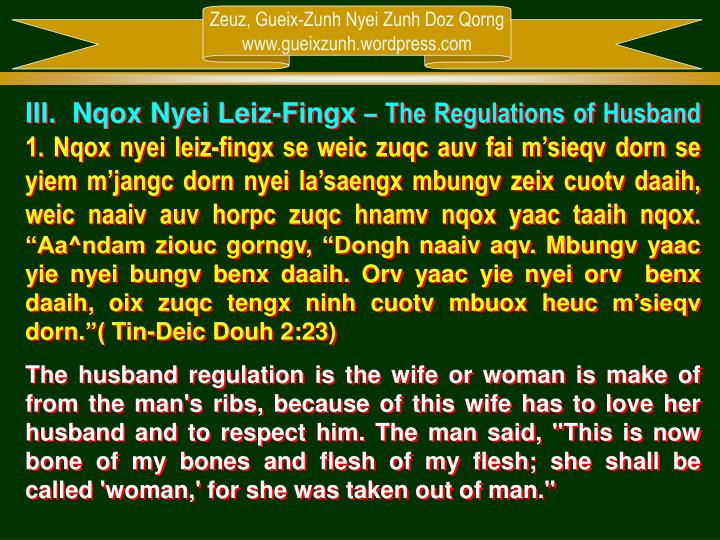 III.  Nqox Nyei Leiz-Fingx