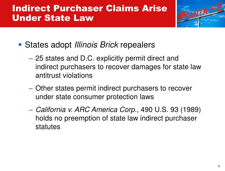 Indirect Purchaser Claims Arise Under State Law