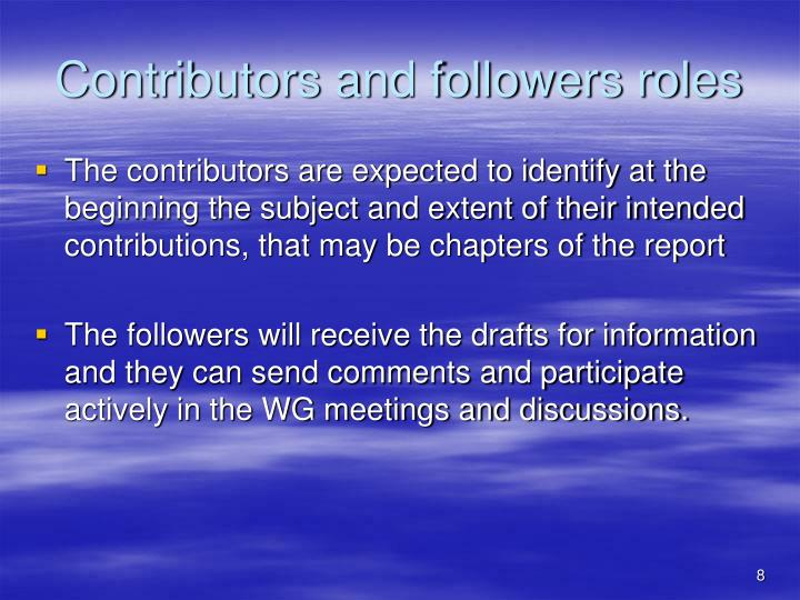 Contributors and followers roles