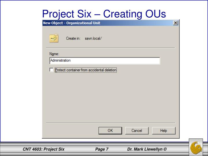 Project Six – Creating OUs