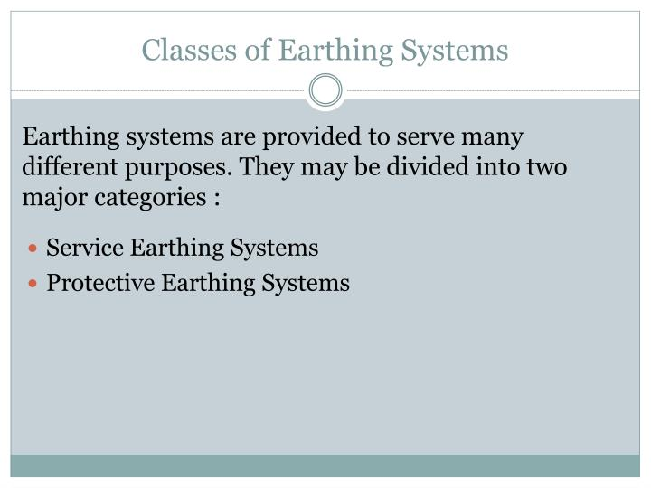 Classes of Earthing Systems