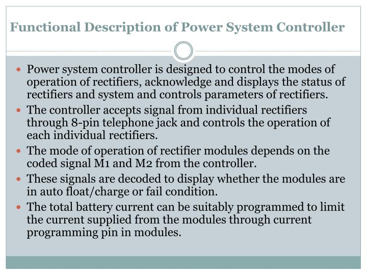 Functional Description of Power System Controller