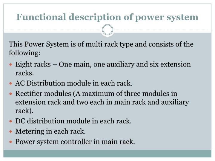 Functional description of power system