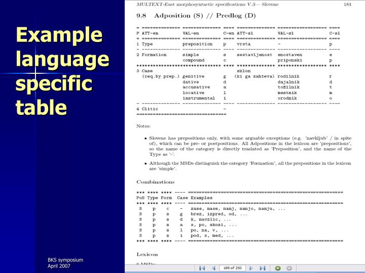 Example language specific table