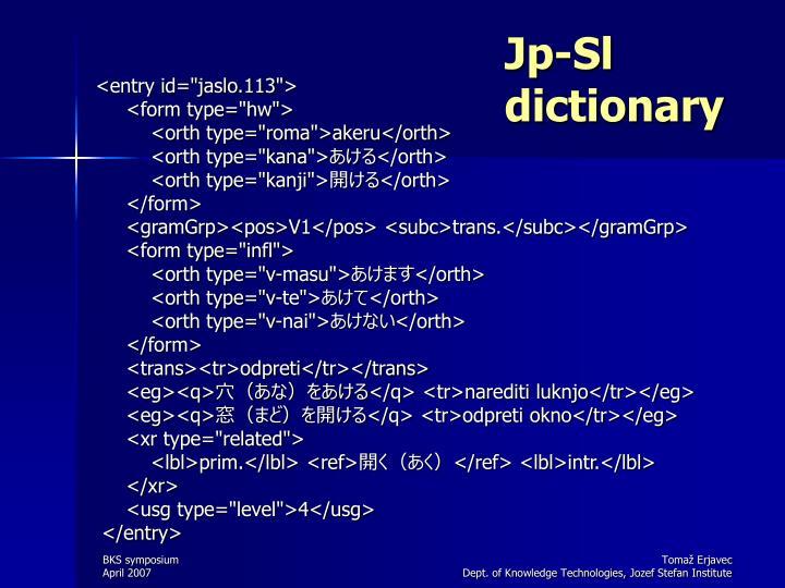 Jp-Sl dictionary