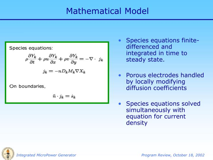 Species equations finite-differenced and integrated in time to steady state.