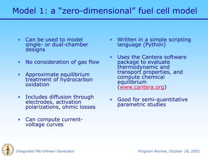 Model 1 a zero dimensional fuel cell model