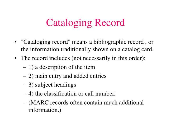 Cataloging Record