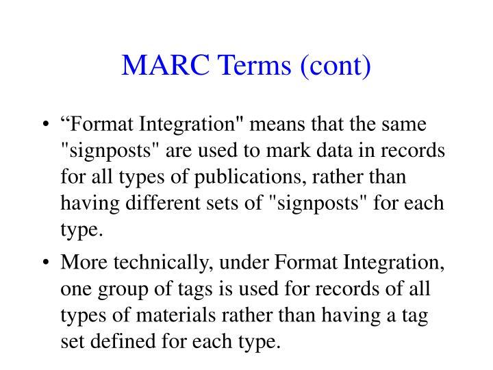 MARC Terms (cont)