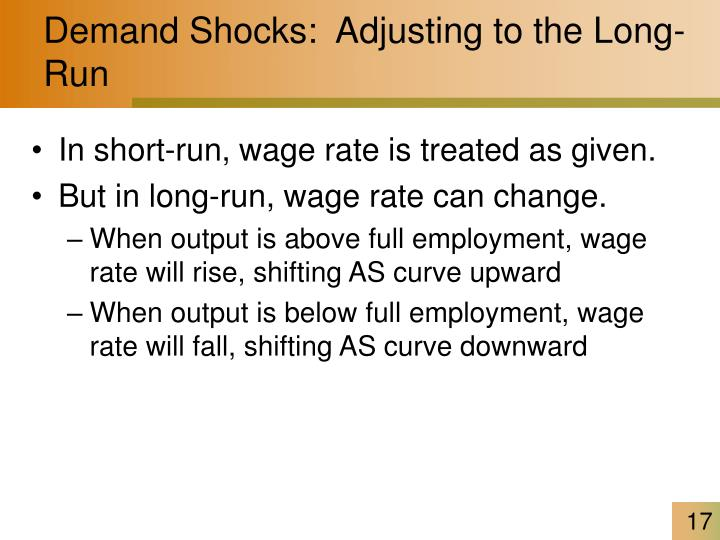 Demand Shocks:  Adjusting to the Long-Run