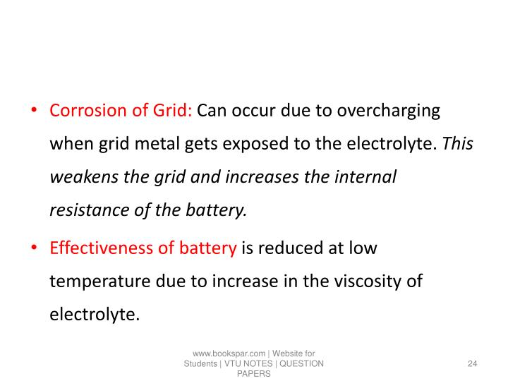 Corrosion of Grid: