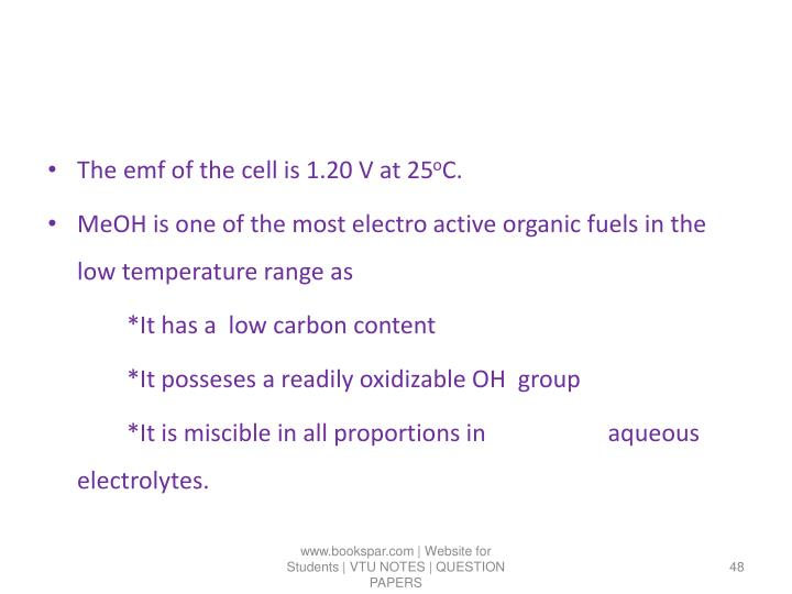 The emf of the cell is 1.20 V at 25