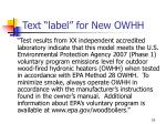 text label for new owhh