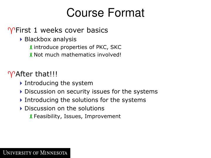 Course Format