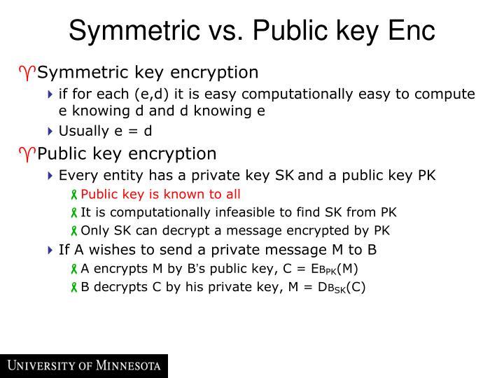 Symmetric vs. Public key Enc