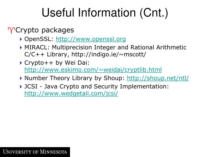 Useful Information (Cnt.)