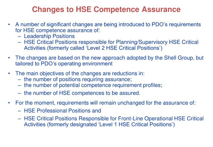 Changes to hse competence assurance