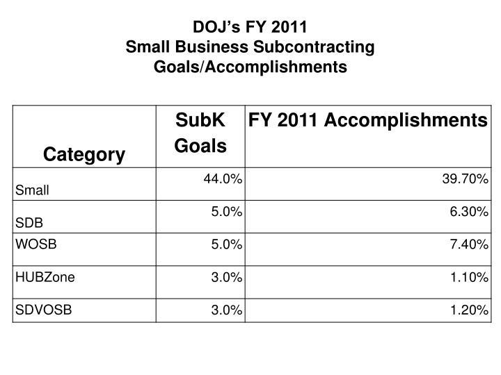 DOJ's FY 2011